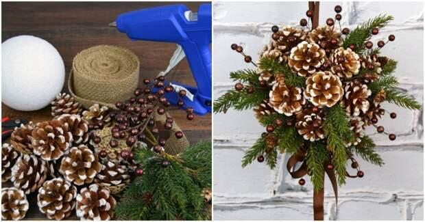 Дизайнерский шар из шишек — зимний декор родом из сказки
