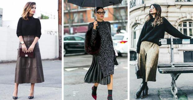Модные примеры миди со свитером. \ Фото: lady.day.az.