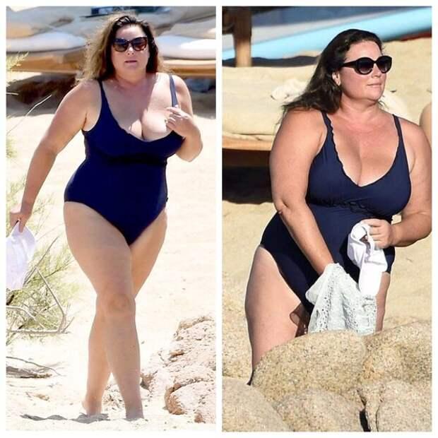 Супргура голливудского актера Пирса Броснана - Кили Шей Смит дама с формами, которая в слитном купальнике выглядит потрясающе.