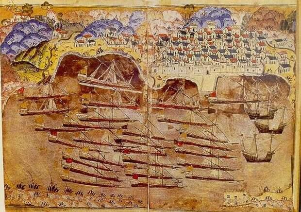 Для нагнетания... Османский флот  во французском порту Тулон в 1543 году. Миниатюра очевидца событий - Насу́х бин Карагё́з бин Абдулла́х эль-Боснави́ османского историка