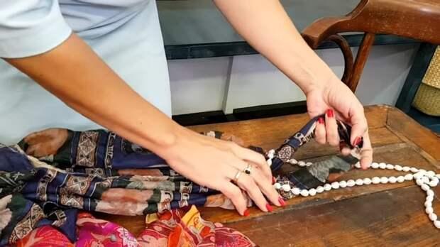 Сдоздайте несколько новых элегантных украшений из шарфа и бус