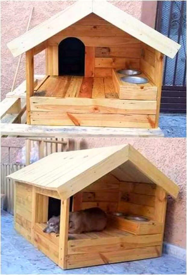 Собачья будка из паллет. | Фото: Pinterest.