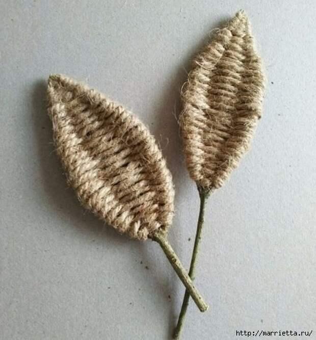 Декоративные листики из веточек и шпагата (11) (496x534, 157Kb)