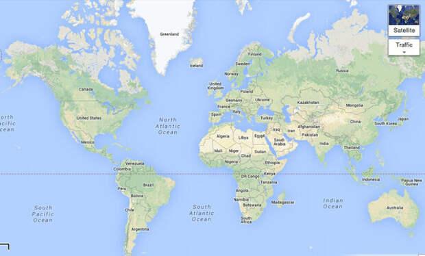 Карта мира. Проекция Меркатора