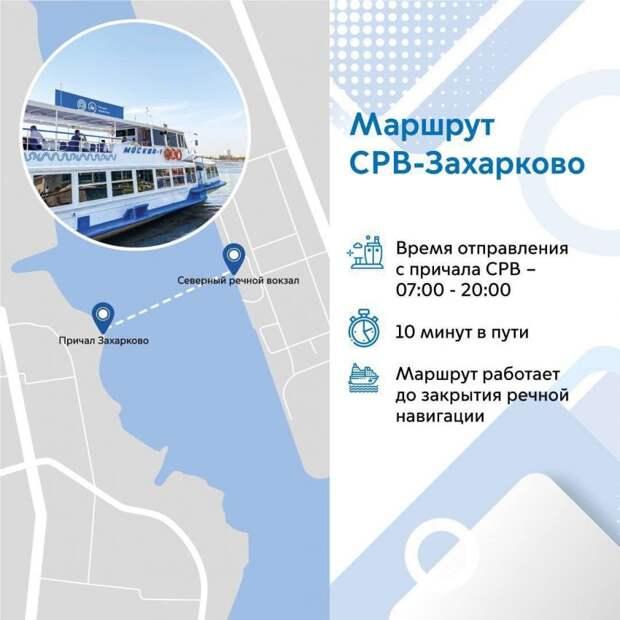Водный маршрут Северный речной вокзал -Захарково выбрали свыше шести тысяч пассажиров