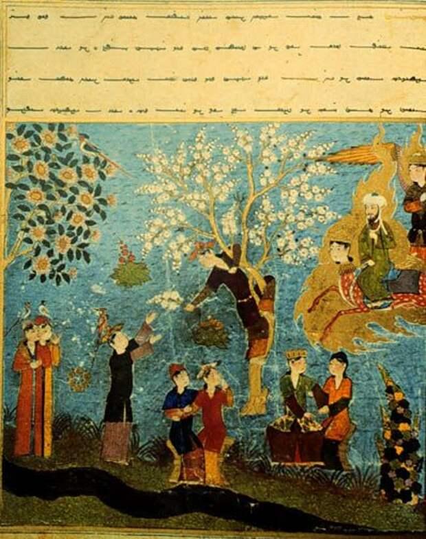 Пророк Мухаммад видит гурий в райском саду