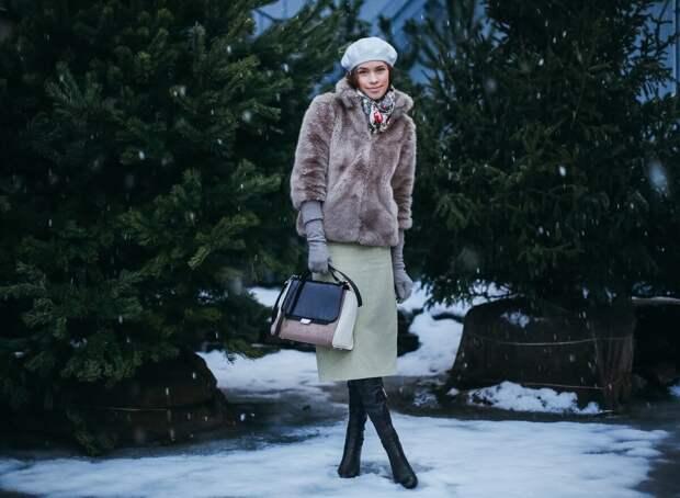 Зимний наряд с платьем и шубой. /Фото: manikurwoman.live
