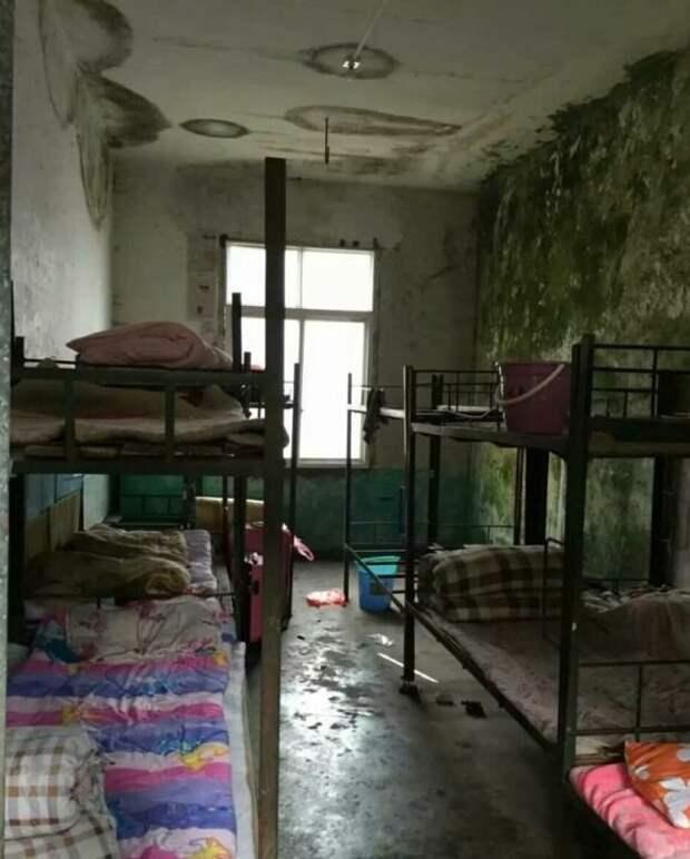 Общежитие для китайских рабочих, зарабатывающих 900 долларов в месяц. У нас в тюрьмах живут лучше