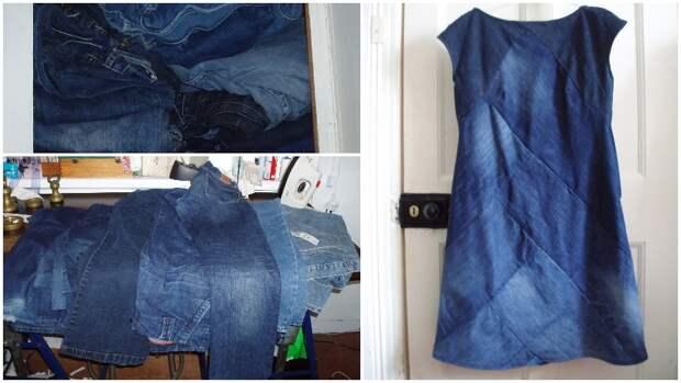 Эффектное платье из денима. Достойная идея переработки джинсы
