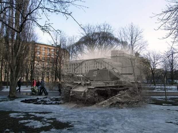 Ленинград 1942-2009 Московская площадь.Тяжелый танк КВ-1на боевой позиции блокада, ленинград, победа