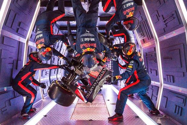 Aston Martin Red Bull Racing's mechanics pictured performing the Zero-G pit stop aboard an aircraft in Russia.