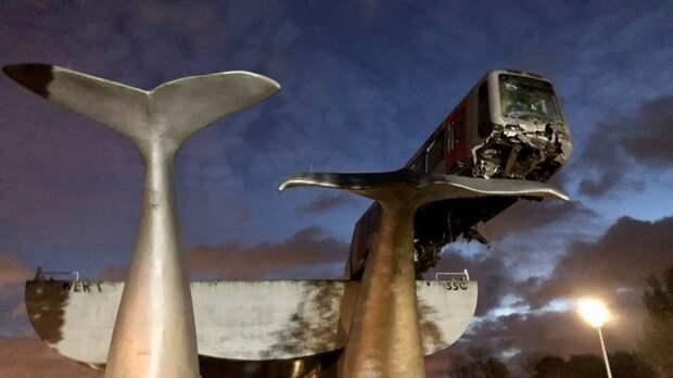 Поезд метро в Нидерландах пробил стену и повис на скульптурном хвосте кита