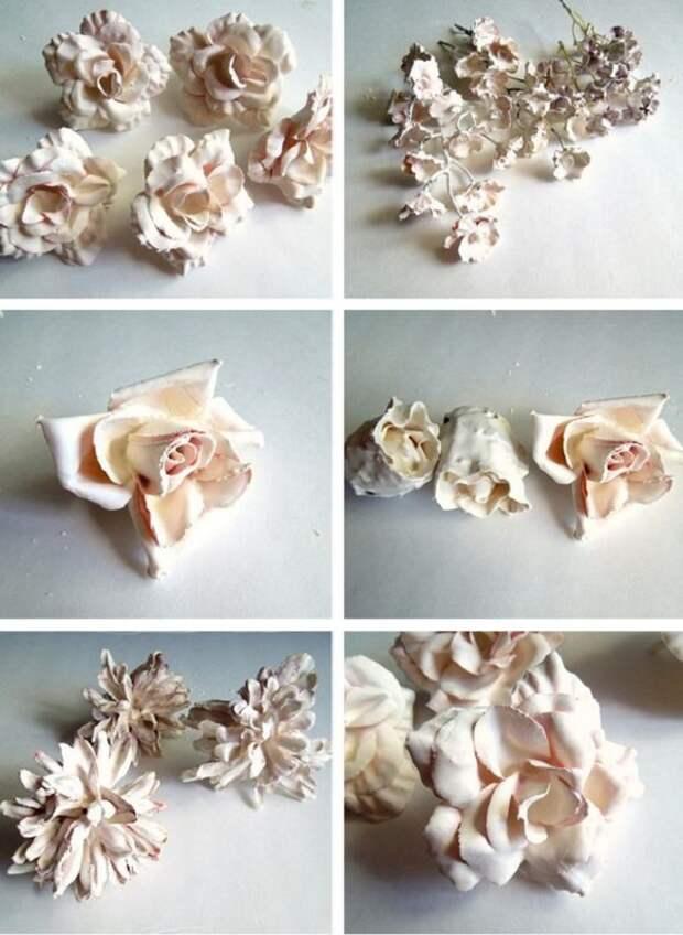 Купила искусственные цветы и развела порошок до консистенции сметаны, чтобы создать нечто восхитительное