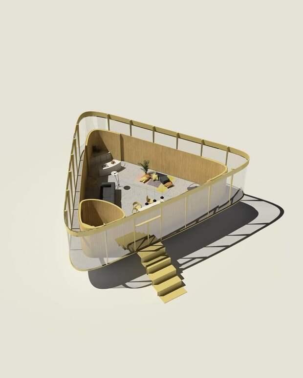 Маленький дом с бассейном на крыше - отличная идея для дачи