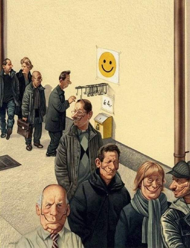 Одень улыбку. Сатира от Gerhard Haderer.