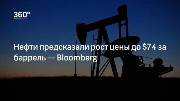Нефти предсказали рост цены до $74 за баррель— Bloomberg