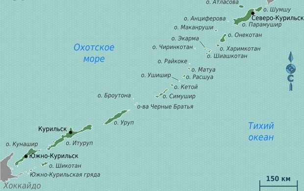 Курильские острова на карте. Источник изображения: https://vk.com/denis_siniy