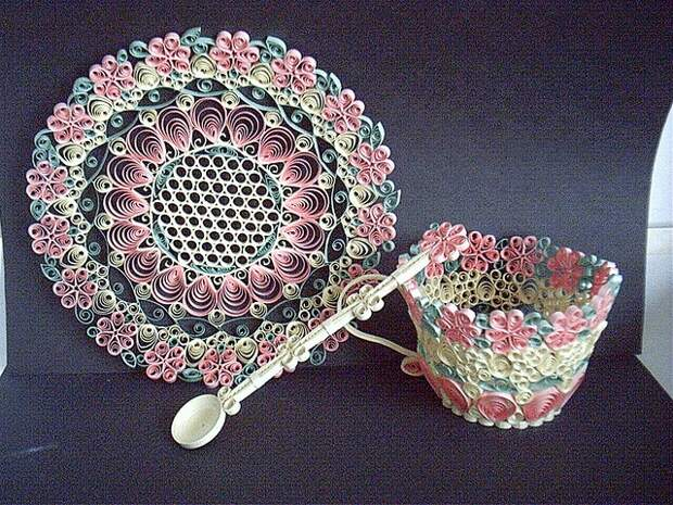 Tea Cup Saucer and Spoon - quilling