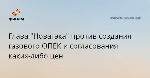 """Глава """"Новатэка"""" против создания газового ОПЕК и согласования каких-либо цен"""