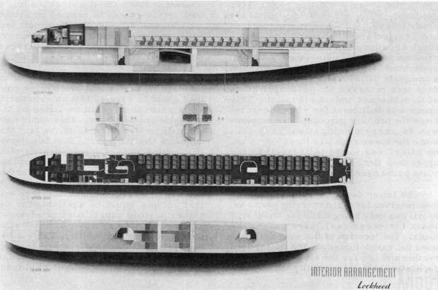 "Схема двухпалубной компоновки Lockheed R6V Constitution в пассажирском варианте. Фото: книга ""Lockheed XR6O-1 Constitution Development Story"""