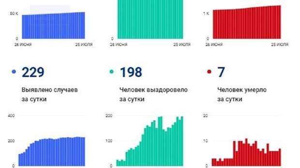 Небольшое снижение: в Вологодской области 229 заболевших коронавирусом, семь человек умерли