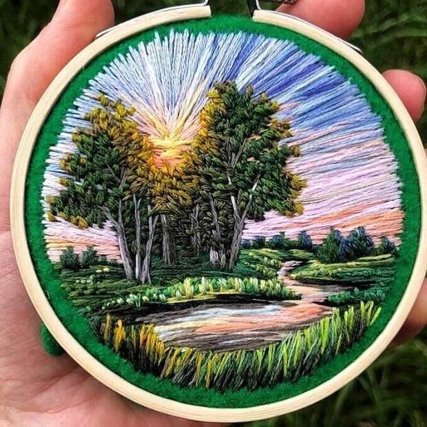 Вышитые пейзажи Веры Шуминии! Какие же красивые работы!