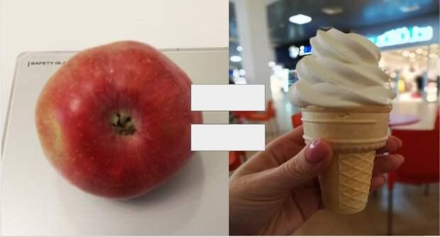 Яблоко или мороженое? Что менее калорийно?