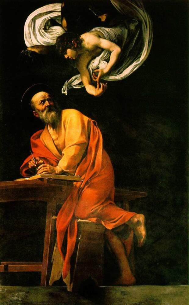 Микеланджело Караваджо. Апостол Матфей и Ангел . 1599—1602. Сан-Луиджи-деи-Франчези, Рим