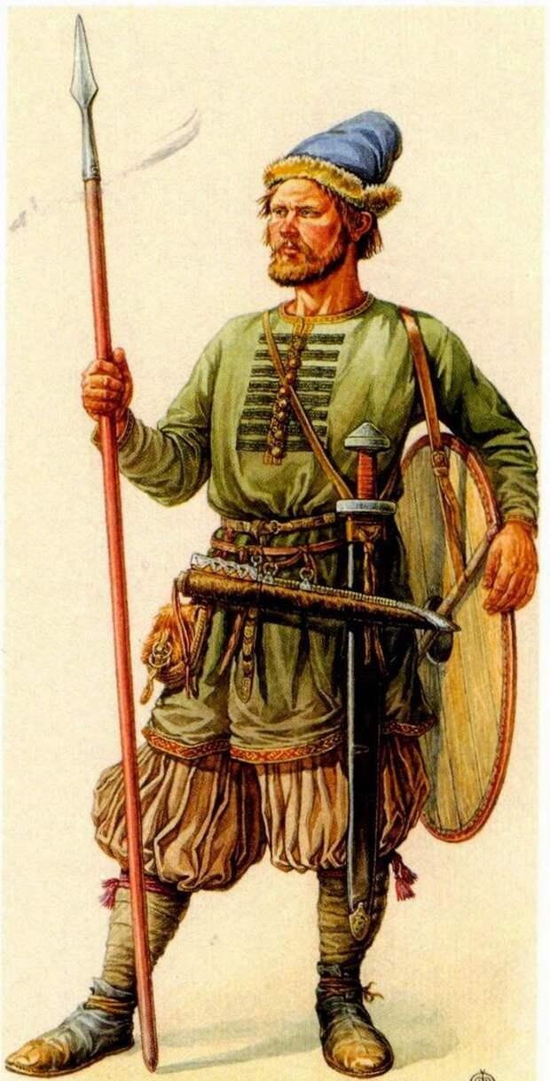 Древнерусский воин второй половины X века.