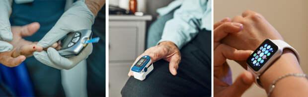 Глюкометр крови является примером инвазивного биосенсора для контроля уровня глюкозы в крови. Пульсоксиметр является примером неинвазивного биосенсора. Умные часы-это неинвазивный биосенсор, используемый ежедневно. (Фоторедакт : twenty20)
