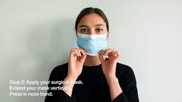 Девушка показала, как превратить медицинскую маску в подобие маски-респиратора №95