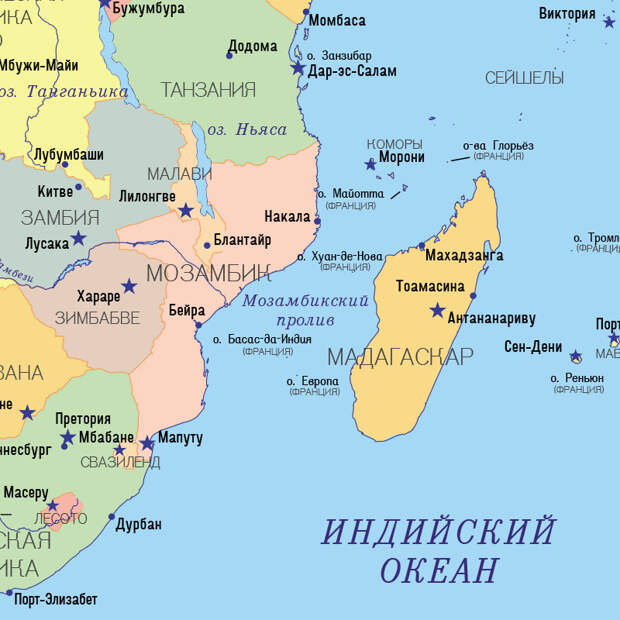 Мозамбикский пролив на карте, взято с Яндекс.Картинки