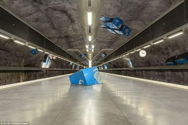 Станция Solna Strand галерея, метро, метрополитен, метрополитены мира, подземка, стокгольм, художественная выставка, швеция