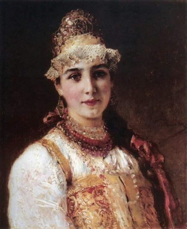 К.Е. Маковский. Молодая боярыня Незамужние девицы носили одну косу.
