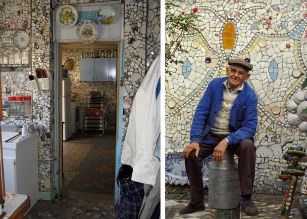 Во Франции есть дом, который сделан из осколков посуды. Вот как он выглядит