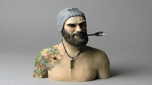 Художник вырезает невероятно реалистичные скульптуры из массивных стволов дерева