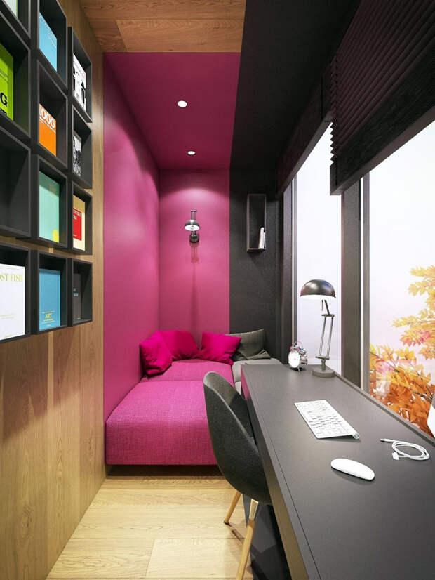 Love it! Классная идея для балкона с диваном и рабочим столом