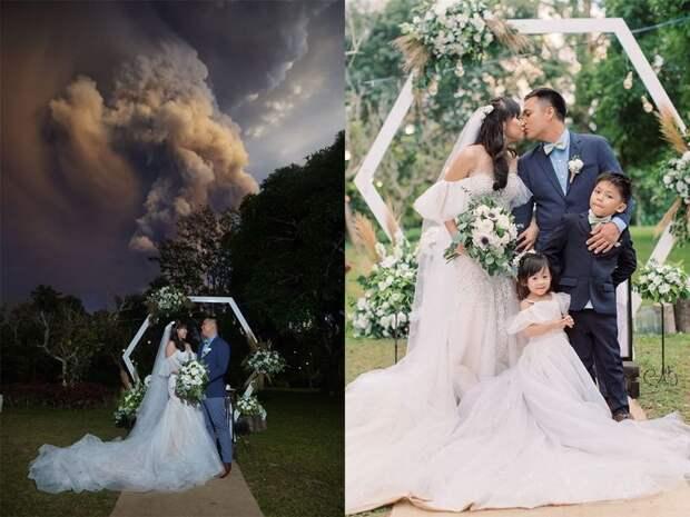 Брачная церемония на фоне извергающегося вулкана на Филиппинах