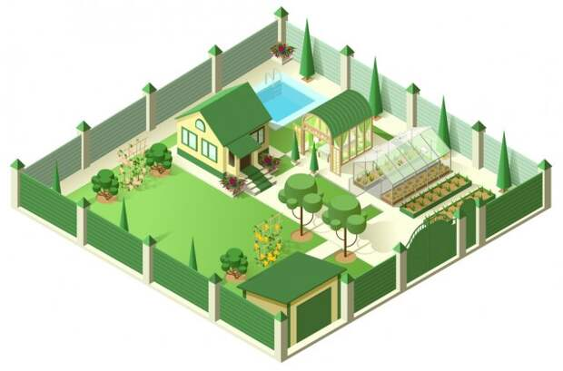 Private house yard with plot of land behind high fence. Isometric 3d illustration. Isolated on white vector