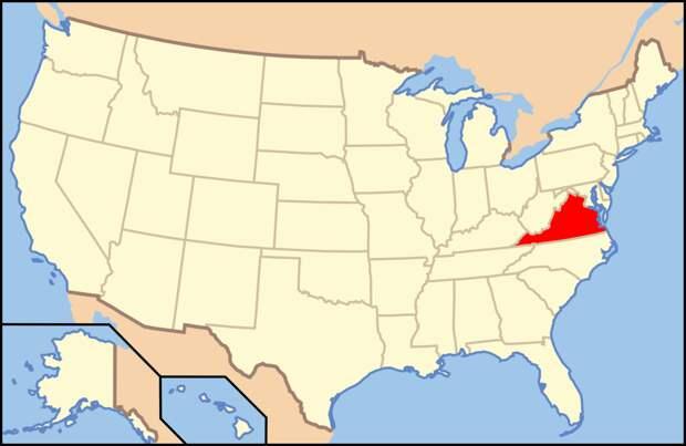 Штат Виргиния на карте США