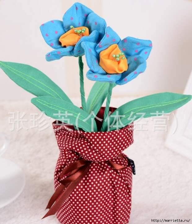 Ручная работа. Цветы из ткани (40) (593x691, 234Kb)