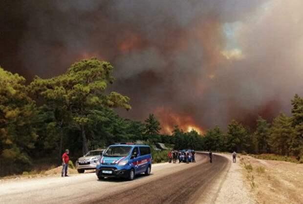 Лесные пожары охватили курорты Турции — Бодрум, Мармарис и Анталью