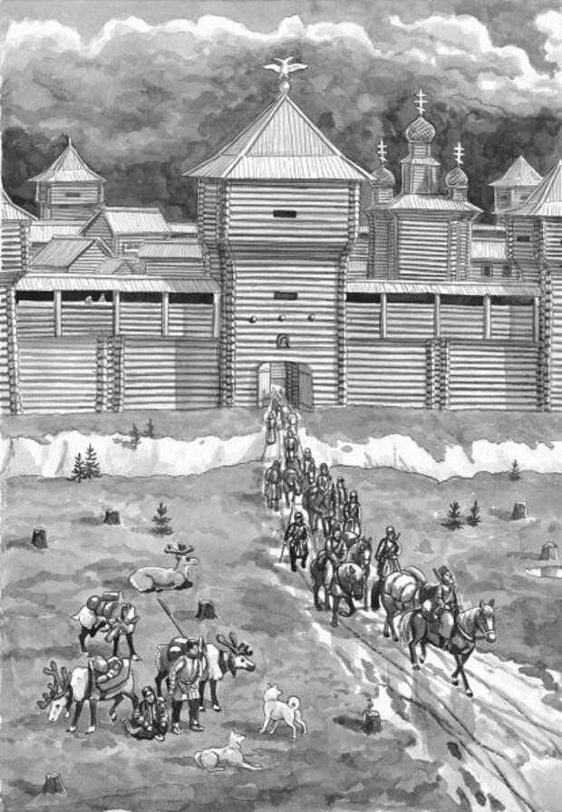 Присоединение новых территорий русскими землепроходцами в Сибири - тактика боевых действий.