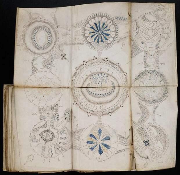 Некоторые страницы рукописи разворачиваются, чтобы показать более крупные схемы.