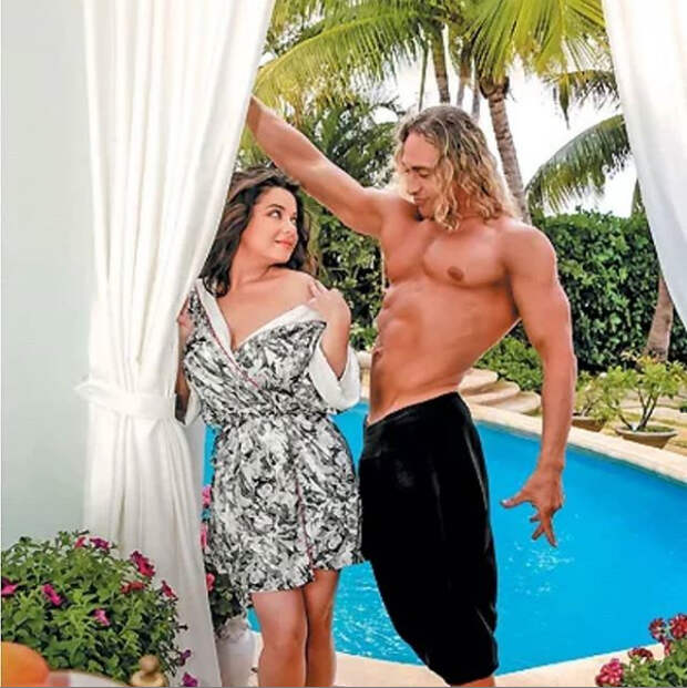 наташа королева с мужем сергеем глушко возле бассейна