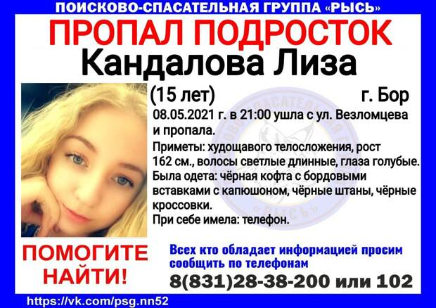 Девочка-подросток пропала в городе Бор