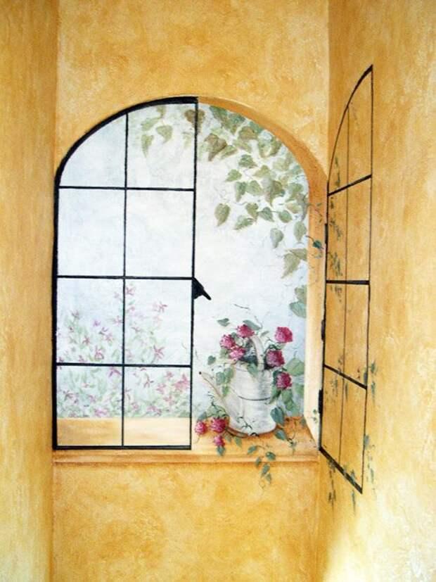 1. Нарисованное окно дизайн интерьера, идеи, окна, пейзаж, пространство, ремонт