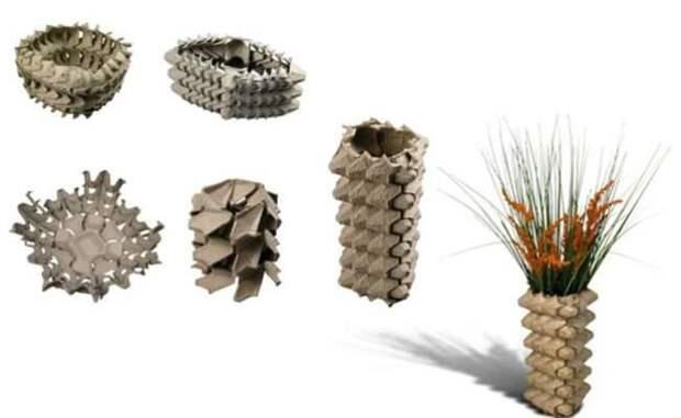 10. Контейнеры легко превращаются в корзинки и вазы различной формы вторая жизнь старых вещей, интересно, контейнер из-под яиц, своими руками, сделай сам, фото
