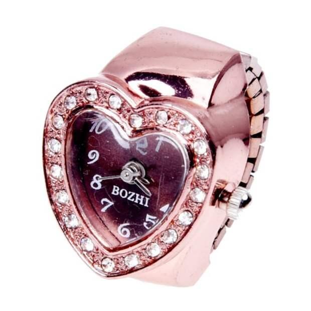 розовые часы-кольцо в виде сердечка