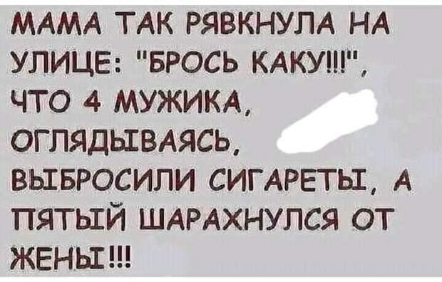 """Возможно, это изображение (один или несколько человек и текст «MAMA так рявкнула на улице: """"брось каку!!!"""", что 4 мужика, оглядываясь, выбросили сигареты, A пятый шарахнулся от жень!!!»)"""